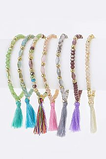 Tassel & Mix Bead Stretch Bracelets Set