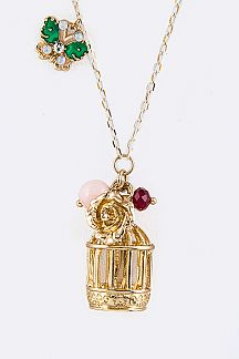 Bird Cage Mix Charms Necklace Set