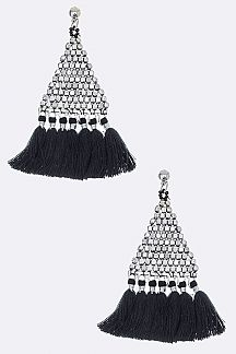 Bead Triangle & Tassel Earrings