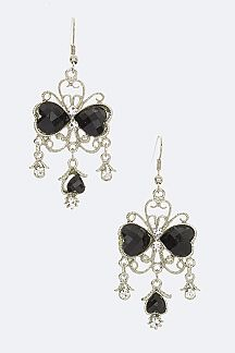 Heart Crystal Chandelier Earrings