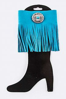 Turquoise Concho Fringe Suede Boot Top