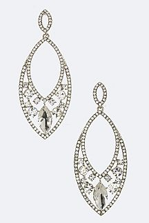 Mix Crystal Oval Earrings