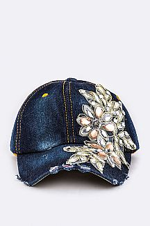 Crystal Flower Embellished Denim Cap