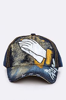 PRAY Gold Sprayed Painted Denim Cap