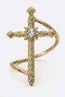 Crystal & Textured Cross Ring
