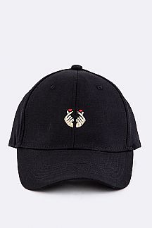 Double Heart Embroidered Fashion Cotton Cap