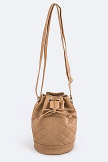 Quilted Drawstring Bucket Crossbody Bag