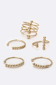 Mix Metal Ball Rings Set