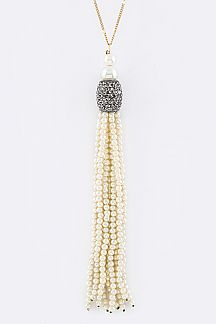 Crystal & Pearl Tassel Necklace