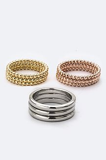 Tri-Tone Triple Rings Set