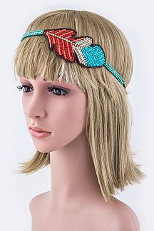 Beaded Feather Hippie Stretch Headband