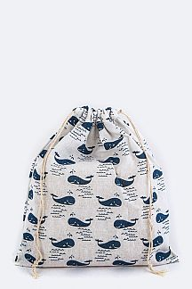 Whale Pattern Canvas Drawstring Pouch - M