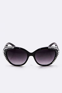 Crystal Ornate Oval Sunglasses