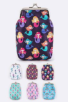 Mermaid Print Coin Purses Set
