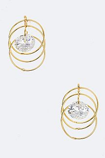 CZ & Linked Hoop Earrings