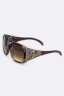 Crystal Ornate Temple Square Sunglasses