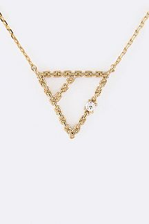 Chain Linked Triangle Pendant Necklace