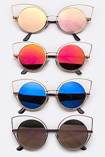Cat Eye Frame Round Sunglasses