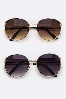 Textured Rim Oval Sunglasses
