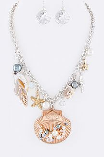 Mix Shell Charms Statement Necklace Set