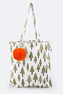 Pine Trees Pattern PomPom Tote