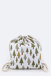 Pine Trees Canvas Drawstring Gift Backpack