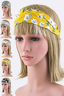 Floral Print Stretch Headbands Set