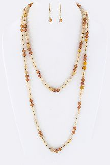 "60"" Mix Stone Beads Stationed Necklace"