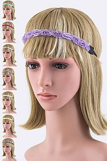 Lace Rose Stretch Headbands Set