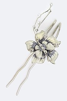 Enamel Butterfly & Flower Hair Pin