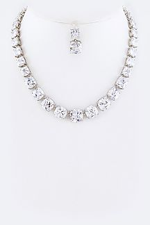 Cushion Cut CZ Necklace Set