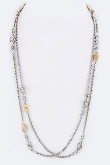 Pave Crystal Charms Long Station Necklace