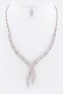 Micro Pave CZ Overlapped Necklace Set