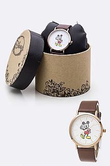 Classic Mickey Leather Strap Watch