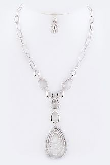 Micro Paved CZ Teardrop Necklace Set