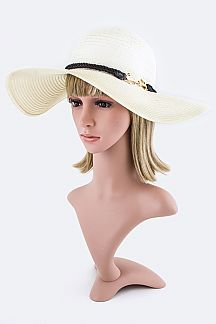 Anchor Band Straw Floppy Hat