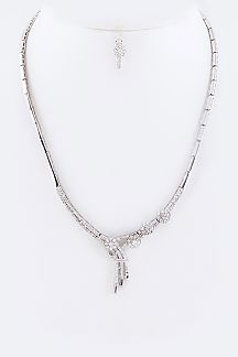 Cubic Zirconia Shooting Star Necklace Set