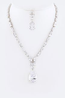 Cubic Zirconia Teardrop Necklace Set