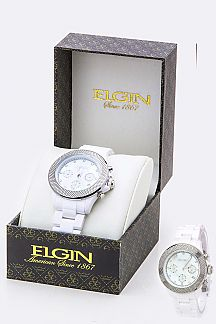 ELGIN Textured Bezel Fashion Chrono Watch