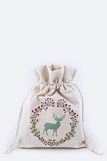 Reindeer Print Canvas Gift Pouch