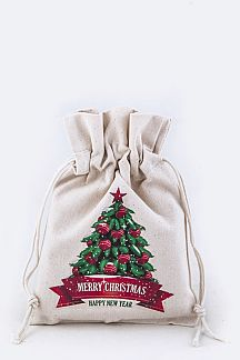 X'mas Tree Print Canvas Gift Pouch