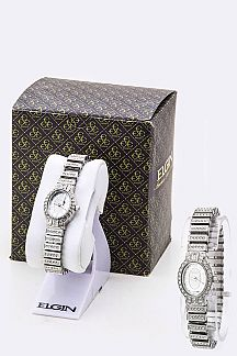 Pave Crystals Stretch Bracelet Watch