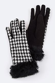 Houndstooth Rabbit Fur Touch Screen Gloves