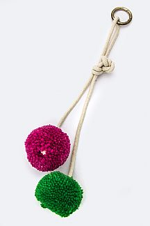 Double Pom Pom Convertible Knotted Key & Bag Charm
