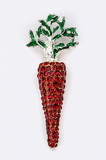 Crystal Carrot Brooch