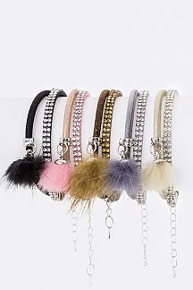 Fur Pom Charm & Crystal Layer Bracelet