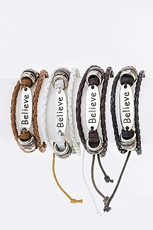 Believe Tag & Braid Layer Drawstring Bracelet