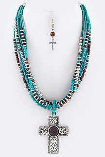 Ornate Cross & Mix Beads Layer Necklace Set