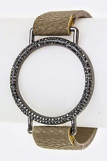 Pave Crystals Hoop Leather Cuff