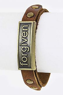 Forgiven Embossed Metal Tag Buckled Cuff